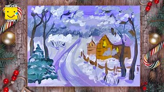 Как нарисовать зимний пейзаж с домиками - уроки рисования, рисуем дома поэтапно