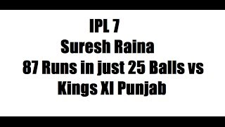 IPL 7: Suresh Raina 87 Runs in just 25 Balls vs Kings XI Punjab