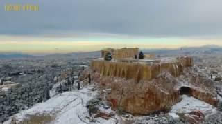 Заснеженные Афины в высоты птичьего полета
