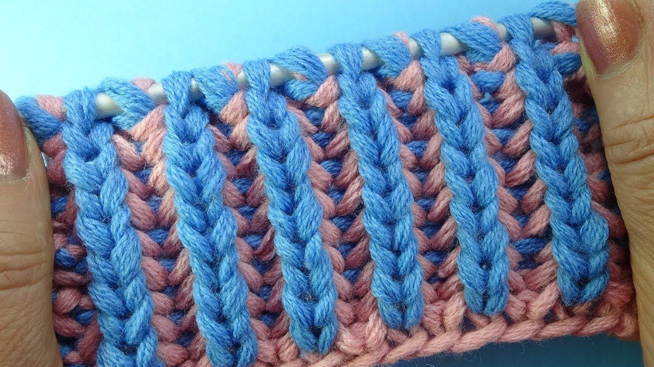 лучшие узоры вязания двухцветная английская резинка узор вязания