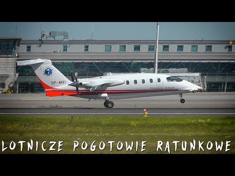 Polish Medical Air Rescue | Piaggio P.180 Avanti Air Ambulance | Landing & Departing