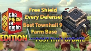 Clash Of Clans- The Best New Townhall (TH9) farm Base To Save DE + Get A Shield EVERY DEFENSE
