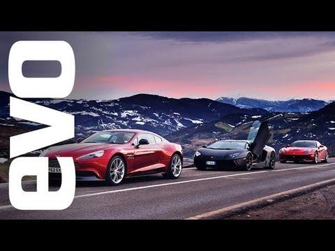 Ferrari F12 vs Lamborghini Aventador vs Aston Vanquish | evo REVIEW