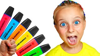 Adi pretends to play with her Magic Pen - Preschool toddler learn color
