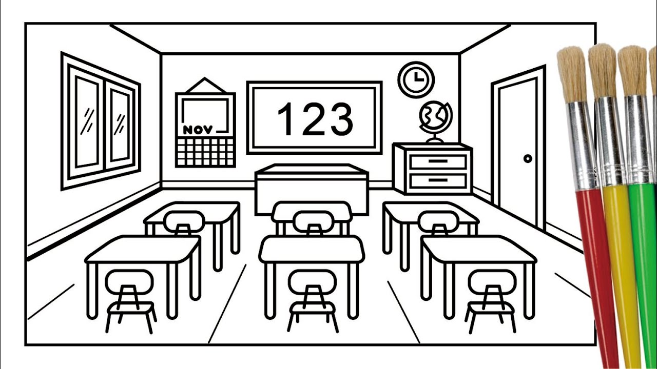 How To Draw And Color A Classroom Coloring Page