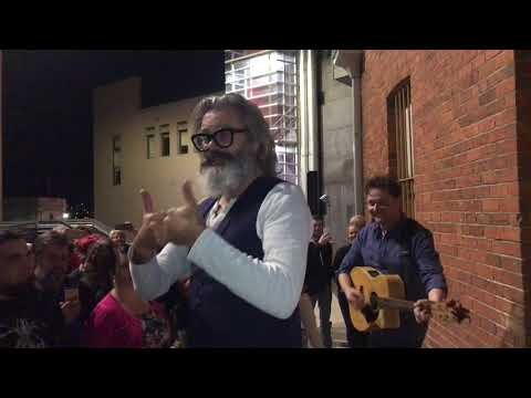 Paul McDermott & Steven Gates perform outside Ballarat Mining Exchange