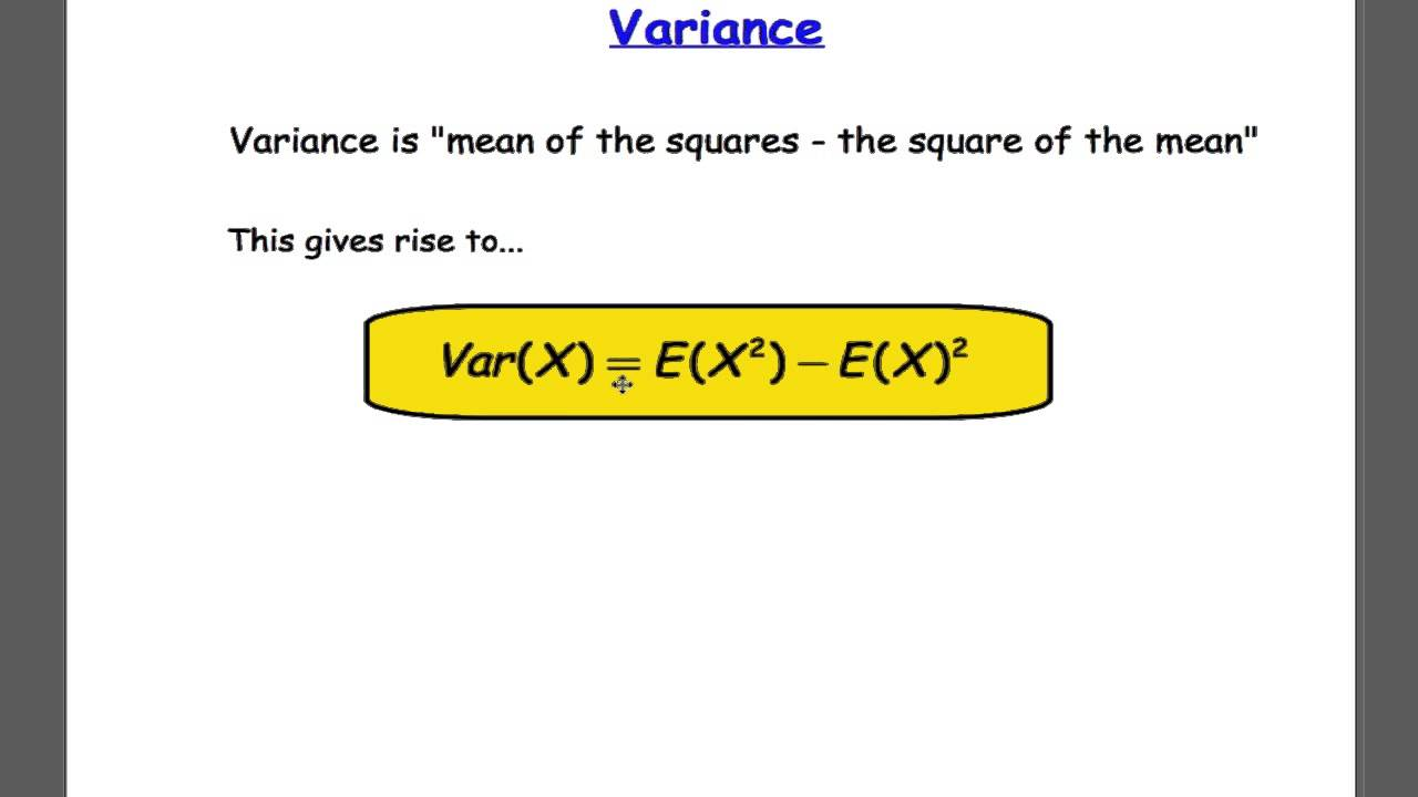 Edexcel s1 tutorial 18 mean and variance of discrete rv youtube ccuart Images