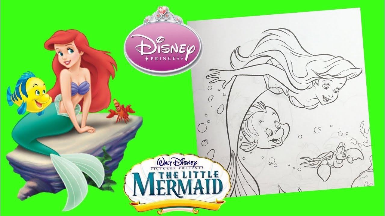 Disney Princess Ariel the Little Mermaid Coloring Book - YouTube
