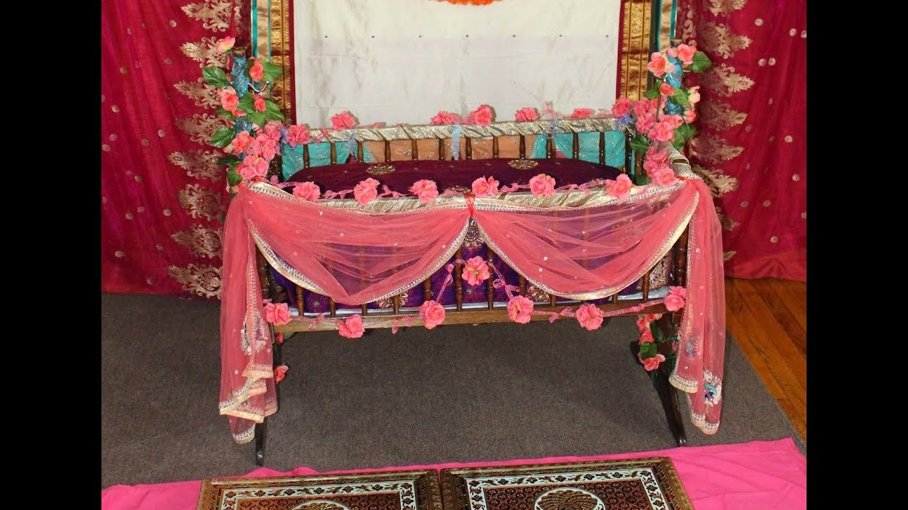 Diy easy cute cradle decoration naming ceremony youtube for Baby name ceremony decoration
