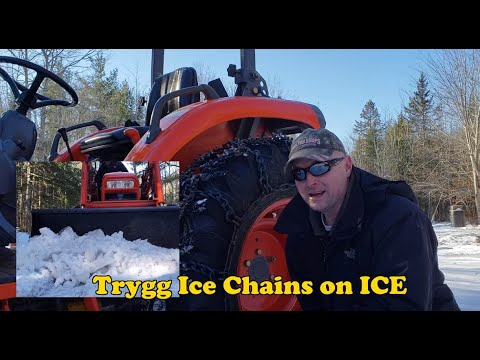 Trygg Ice Chains on ICE. Gives the Kioti tractor awesome traction!