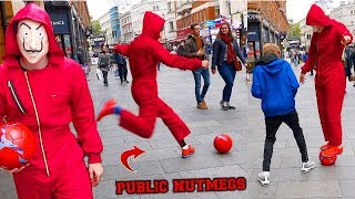 Scaring people in LONDON with a FOOTBALL !? (PUBLIC NUTMEGS CHALLENGE)