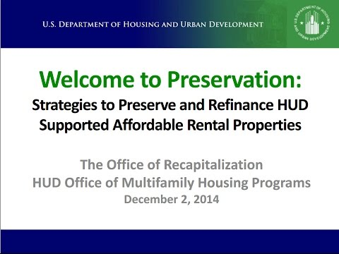 Welcome to Preservation Webinar: Strategies to Preserve and Refinance Affordable Housing Properties