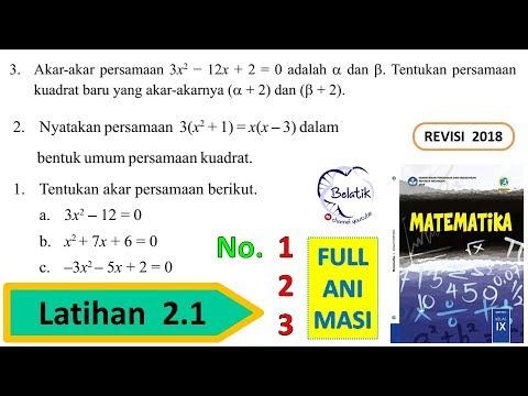 Latihan 2 1 Nomor 1 2 3 Kelas 9 Smp Mts Semester 1 Persamaan Fungsi Kuadrat Mtk Bse Halaman 81 82 Youtube