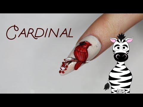 3D Cardinal Acrylic Nail Art Tutorial thumbnail