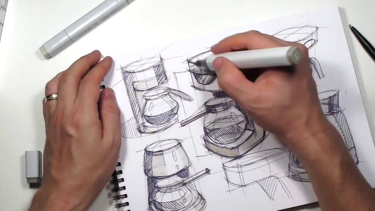 How to sketch coffee maker machine