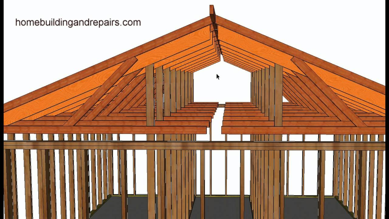 How To Convert Existing Truss Roof Flat Ceiling To Vaulted Ceiling Using  Rafters, Post And Beam   YouTube