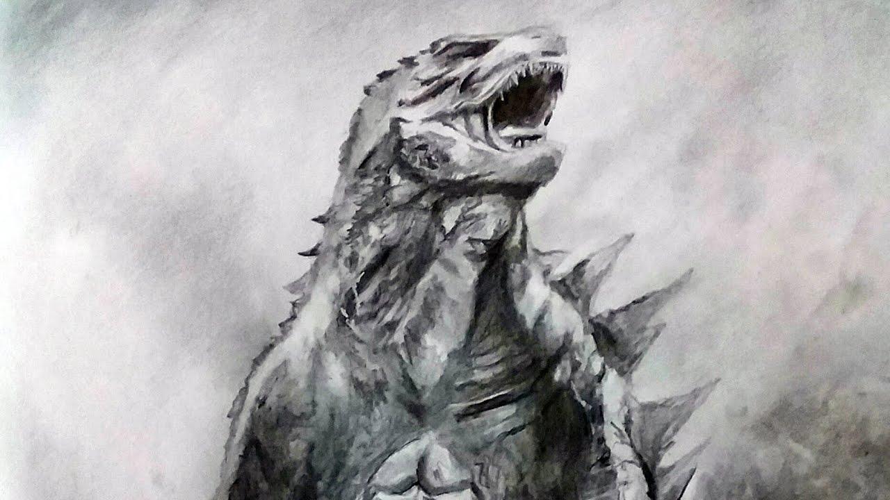 Drawing godzilla hd godzilla king of the monsters 2019 graphite pencil sketch pencil glue