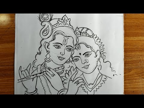 Rash Yatraspecial Radhakrishna Drawing How To Draw Lord Krishna And Radha Lord Krishna Drawing Youtube