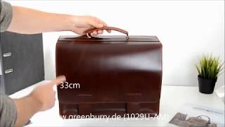 Greenburry Leder Aktentasche Lehrertasche European Pullup 1029U-AM
