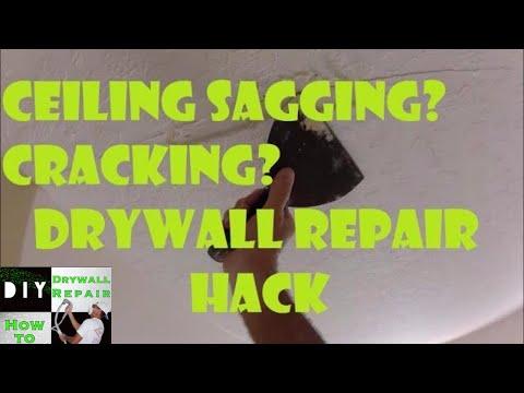 How to Fix Sagging Drywall Ceiling Crack Repair Hack-  Drywall Finishing-  Skip Trowel Repair Match