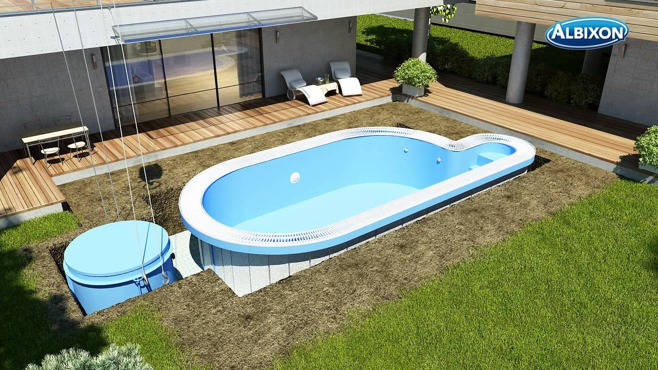 Installation piscine en coque albistone de chez albixon for Piscine coque debordement