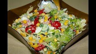 Салат с тунцом. С кукурузой и яйцом. Простой вкусный рецепт.  Моя Dolce vita