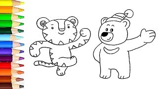 How to draw Pyeongchang olympics mascot - colors for kids - learn colors / World of Eggs