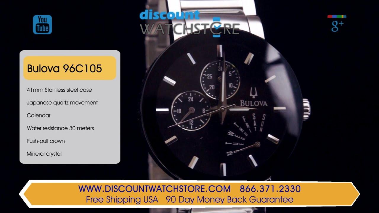 1fadee72267f9 Bulova 96C105 Men s Black Dial Steel Bracelet Watch Review Video ...