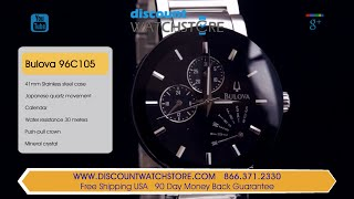 Bulova 96C105 Men's Black Dial Steel Bracelet Watch Review Video