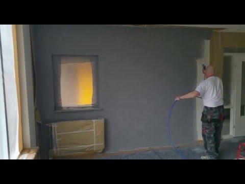 Muur woonkamer latex spuiten door www.voordeliglatexspuiten.nl - YouTube