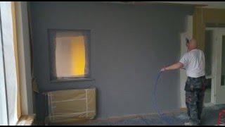 Muur woonkamer latex spuiten door www.voordeliglatexspuiten.nl
