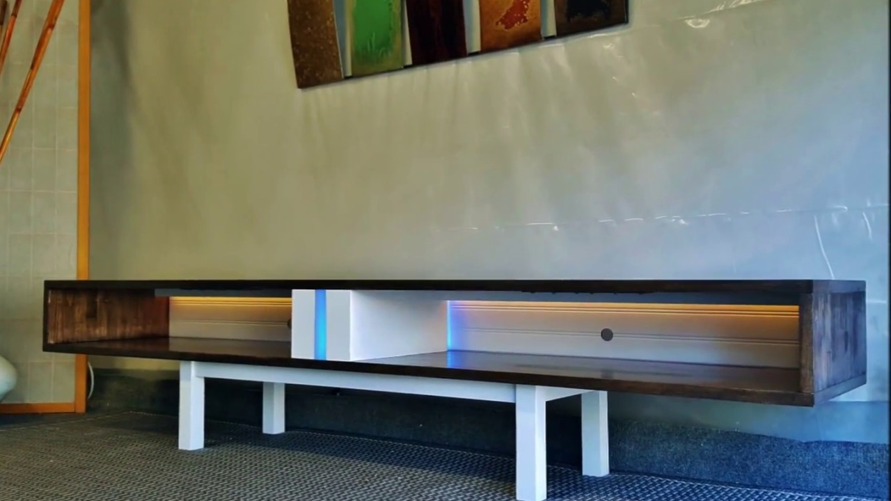 New mid century modern tv stand media console with lighting