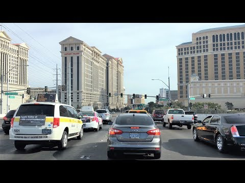 Driving Downtown - Vegas' Flamingo Road - Las Vegas Nevada USA