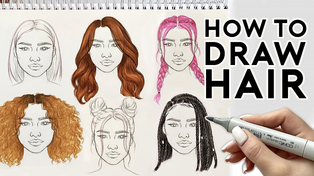 How To Draw Hairstyles Sketching Coloring Tutorial Youtube