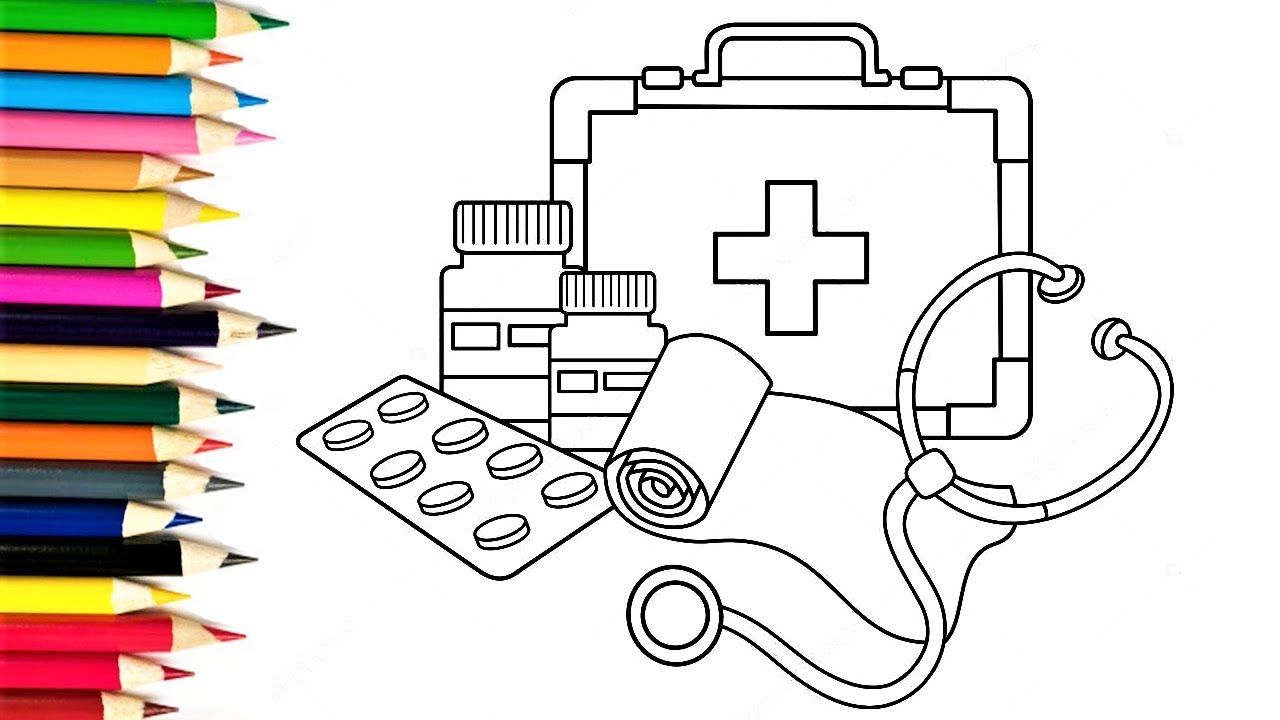 Coloring Pages Medicines How to Draw Medical Doctor Kit for Baby ...