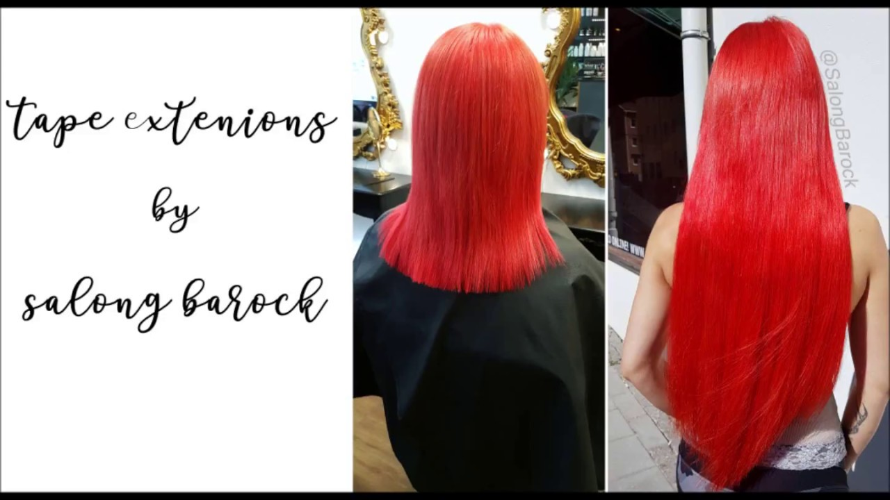 Tape Extensions Red Hair From Short To Long Youtube