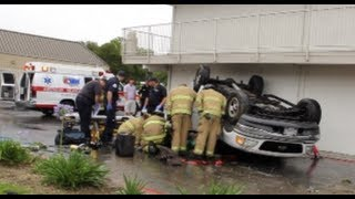 Truck Flips & Crashes Into Motel 6 During Rain In Modesto, California - Modesto News