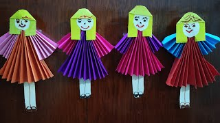 Paper doll making || kids paper crafts || how to make paper doll easy