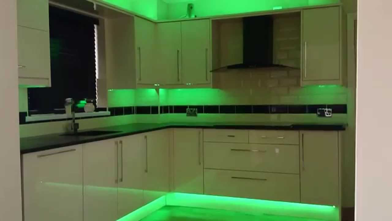 Kitchen LED Strip Lights YouTube - Kitchen plinth lighting ideas