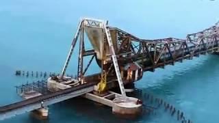 Train on sea - Rameshwaram Pamban Bridge. Top 10 most dangerous railroads in the world.