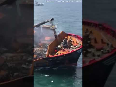Fears of environmental disaster as oil-laden ship sinks off Sri Lanka after huge explosion #shorts