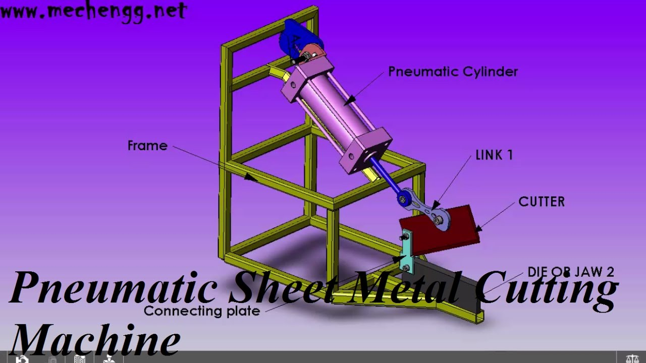 Design Animation Of Pneumatic Cutting Machine Mechanical