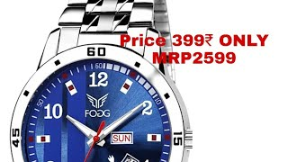 Amazing stainless steel wrist watch ! For 399₹ ! From flipkart! date & day display unboxing & review