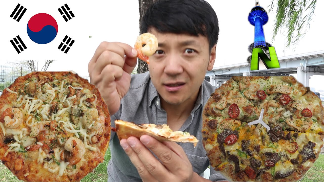 trying korean seafood bulgogi pizza in seoul south korea from