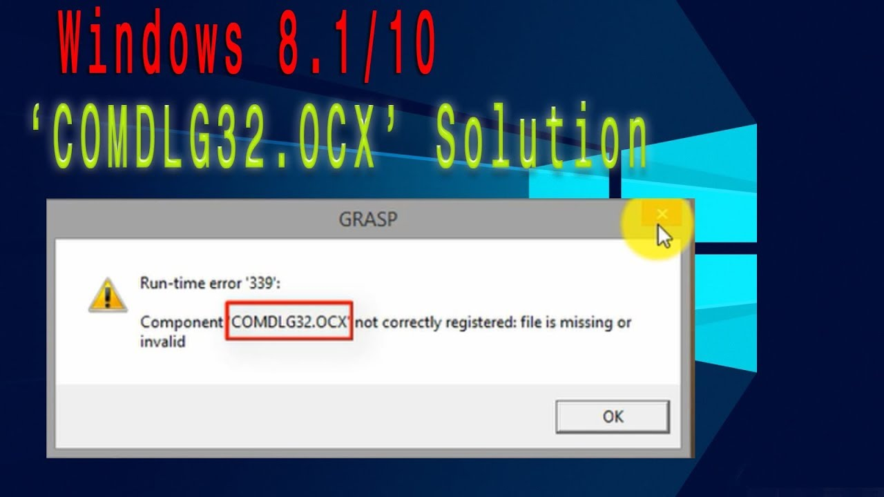 How to fix COMDLG32.ocx missing windows 10/8.1/8/7 - YouTube