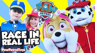 PAW PATROL In Real Life Race Parody with Marshall, Skye, Baby Marshall and Chase Paw Patrol Costumes