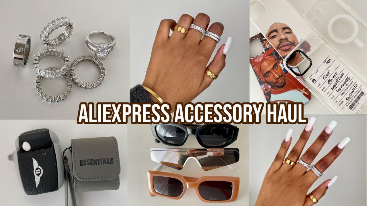 ASMR ALIEXPRESS ACCESSORY HAUL (phone cases, jewelry, sunglasses & more)