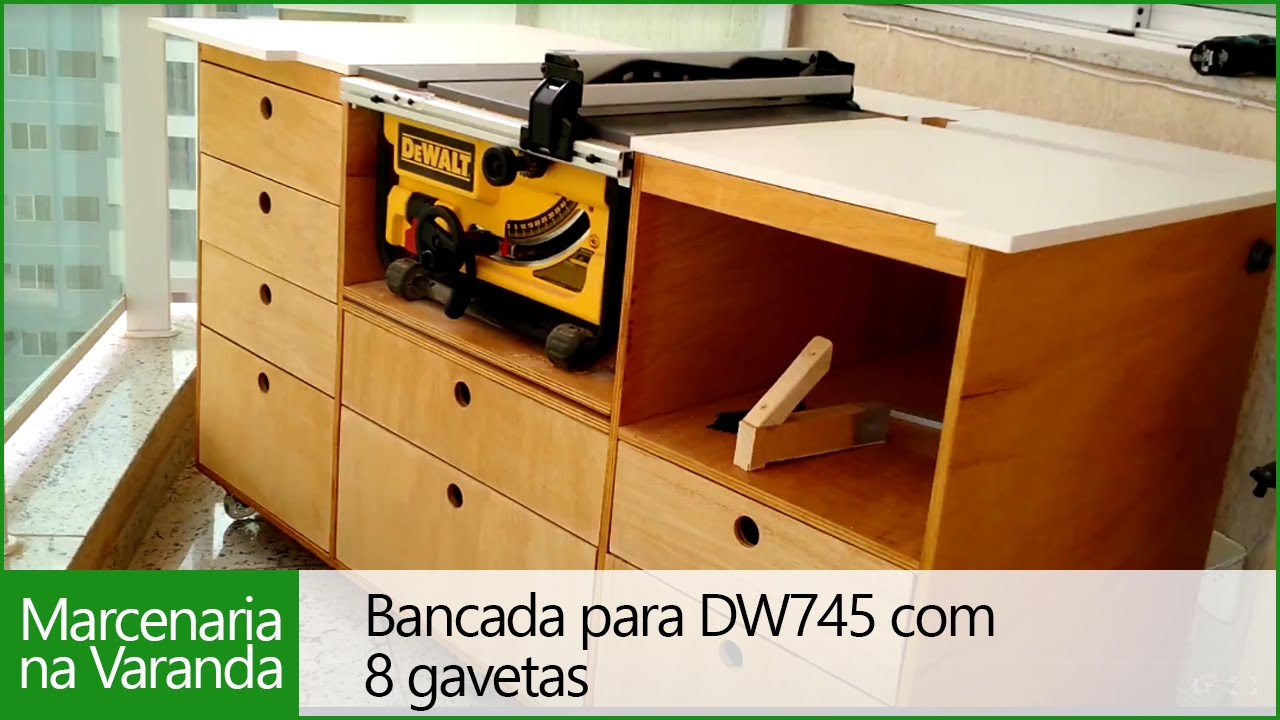 Bancada Para Serra De Bancada Dw745 Com 8 Gavetas 2