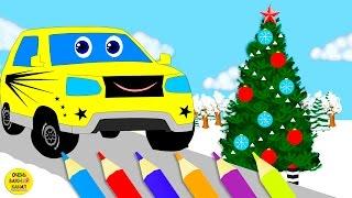 Учим цвета вместе со Стёпой и новогодней ёлкой - раскраска! Развивающие мультики про машинки