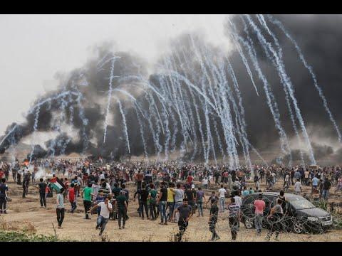 إصابة ?1100? فلسطيني في إطلاق نار إسرائيلي على المتظاهرين